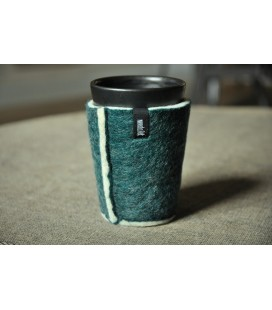 Take-away cup with dark green cup cosy